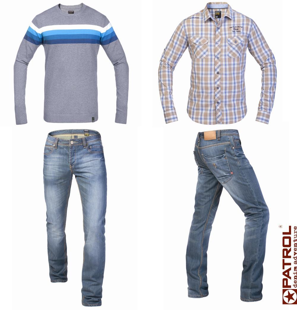 jeansy slim & koszula, sweter