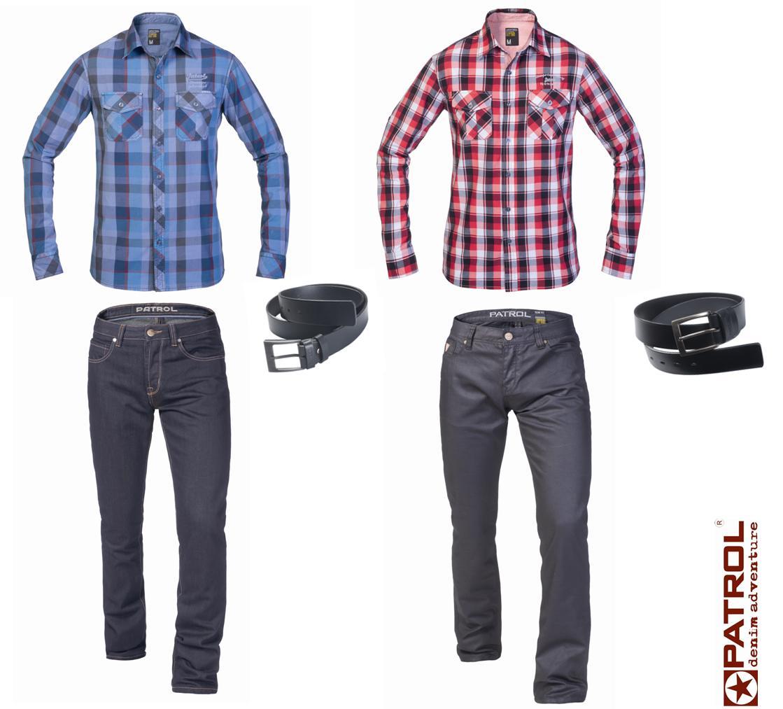 jeansy slim & koszule