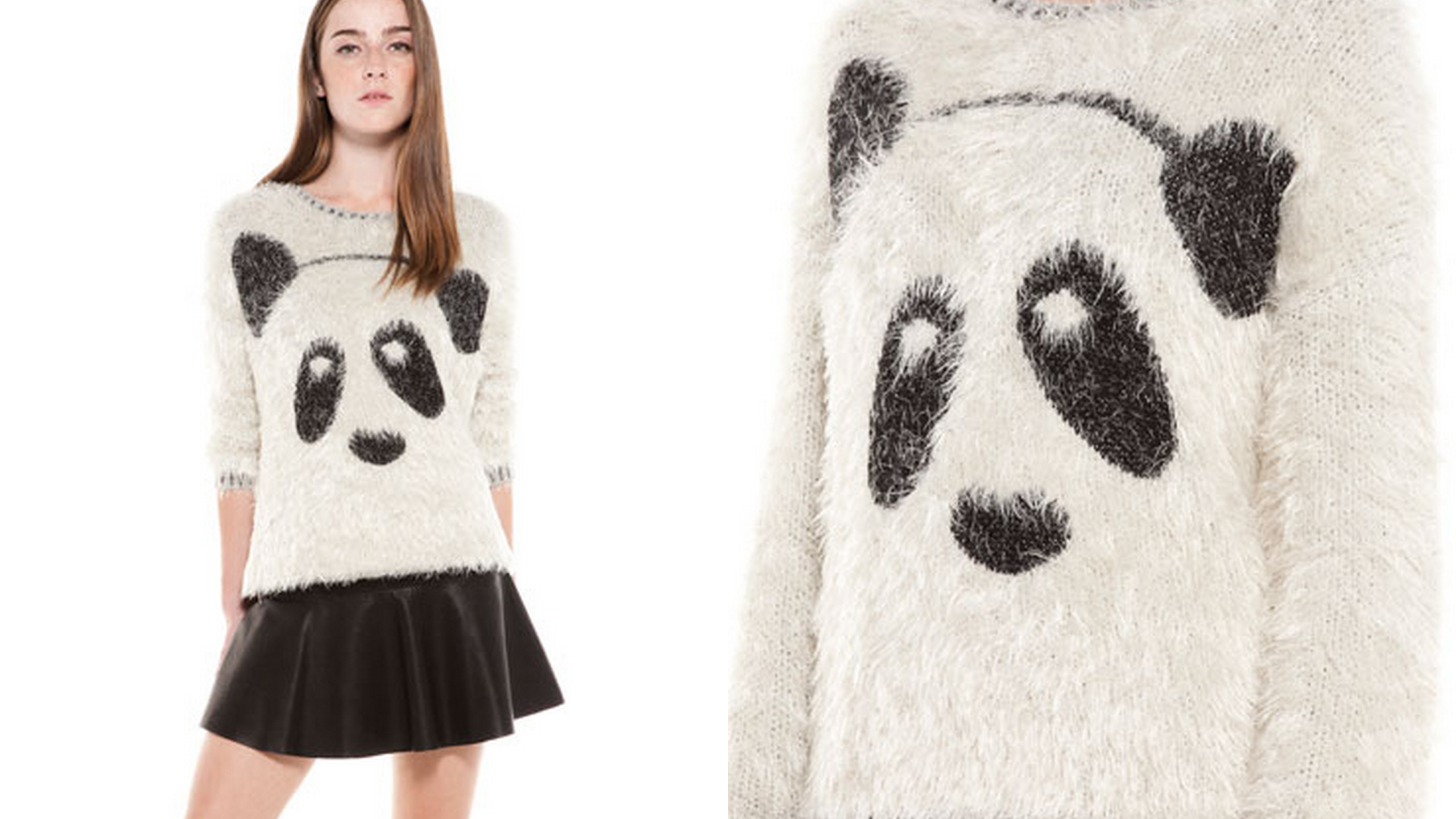 sweter z motywem pandy